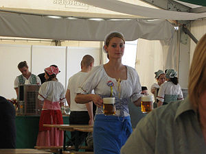 A waitress carrying beer at the 2009 Czech Bee...