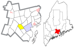 Location of Morrill (in yellow) in Waldo County and the state of Maine