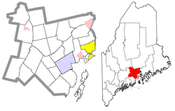 Location of Stockton Springs (in yellow) in Waldo County and the state of Maine