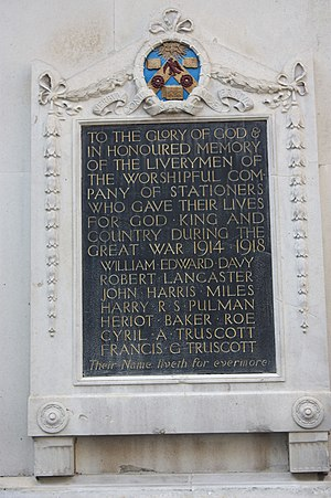 Livery company - War Memorial to London's Liverymen lost in WW1 (on Stationers Hall, west of Paternoster Square)