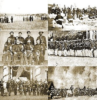 Paraguayan War - Clockwise from top left: Uruguayan artillery in the Battle of Boquerón, Brazilian soldiers kneel in a religious procession, Brazilian troops in Nova Palmira, Brazilian troops in Tayi, officers of the Argentine Army, officers of the Imperial Brazilian Army.