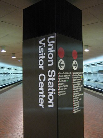 Union Station (Washington Metro) - Image: Washington Union Station Visitor Center Pillar