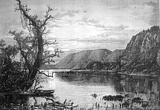 Shenandoah River - Moonlight on the Shenandoah, engraving by J.D. Woodward