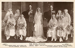 Sir Victor Mackenzie, 3rd Baronet - Mackenzie (back row third from right) as best man at the wedding of Princess Mary and Viscount Lascelles, 1922