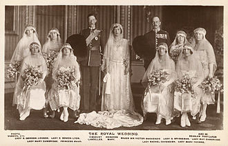 Queen Elizabeth The Queen Mother - Elizabeth (back row second from left) as a bridesmaid at the wedding of Princess Mary and Viscount Lascelles, 1922