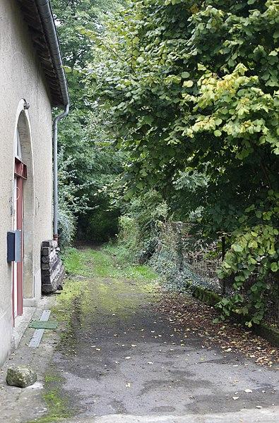 """Sentier vicinal """"Stadter Pad"""" avec les arbres et buissons qui le bordent à Weiler-la-Tour"""