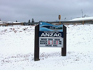 Anzac, Alberta - Anzac welcome sign