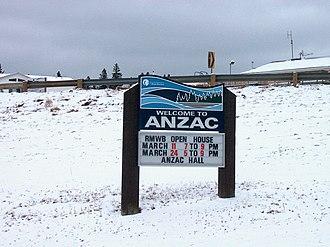 Anzac, Alberta - Anzac welcome sign