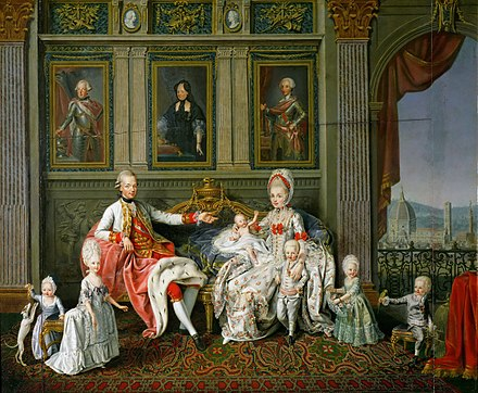 Leopold II, Holy Roman Emperor and his family. Leopold was, from 1765 to 1790, the Grand Duke of Tuscany Wenceslaus Werlin-Leopold II, Holy Roman Emperor and his family.jpg
