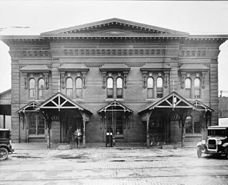 West Chester and Philadelphia Railroad - East Market Street Station in West Chester, built 1875, in a 1930 photo; the station was demolished in 1968