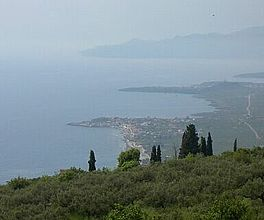 View of the coast from the hills above Agios Nikolaos