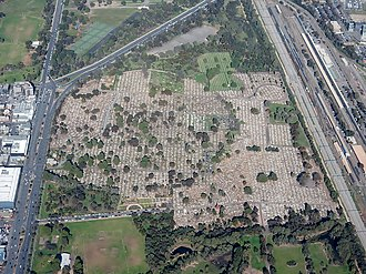 West Terrace, Adelaide - South-facing aerial view of West Terrace Cemetery, westerly adjacent to West Terrace and northerly adjacent to Anzac Highway