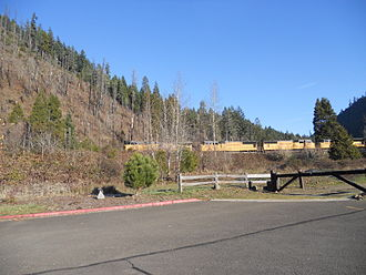 Westfir, Oregon - A locomotive on the Union Pacific Railroad passing by Westfir