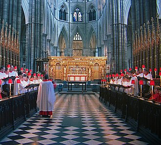 Evening Prayer (Anglican) - Evening prayer often takes the form of Choral Evensong, such as this service at Westminster Abbey.