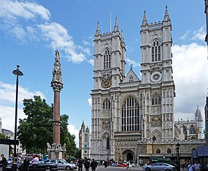 Gatehouse Prison - Crimean War Memorial, where Gatehouse Prison once stood, in front of Westminster Abbey, London, UK