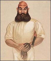 Caricature of man with a large beard dressed in cricket gear and holding a bat and gloves