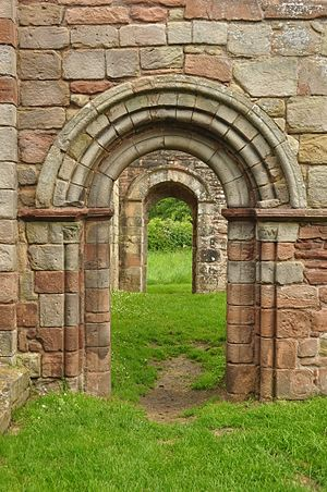 White Ladies Priory - Romanesque arch at White Ladies Priory.