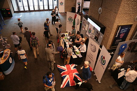 Wikimania 2014 Wikimedia UK stall Community Village stall.JPG