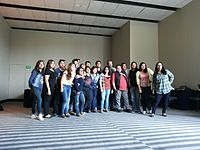 Wikimania 2015-Tuesday-Group photo of volunteers.jpg