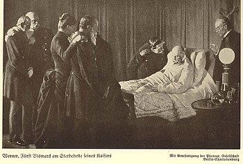 Wilhelm I on his death bed, with his last signature