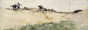 Willem de Zwart - The Sandpit, black chalk and watercolor