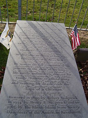William Ellery - Image: William Ellery grave at Common Burying ground Newport RI