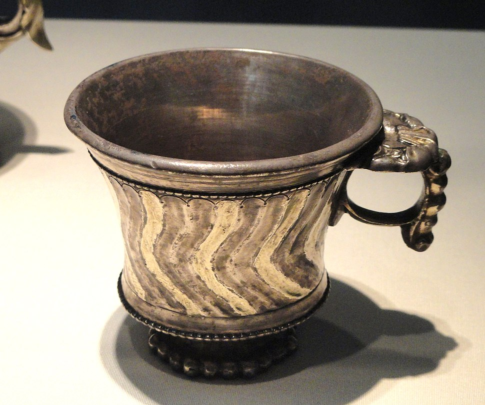 Wine cup with elephant heads on ring handle, Sogdiana, probably Uzbekistan, early 7th century AD, hammered silver with mercury gilding - Freer Gallery of Art - DSC05588