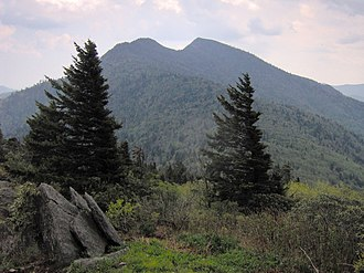 Black Mountains (North Carolina) - Potato Hill (left) and Cattail Peak (right), viewed from Winter Star Mountain