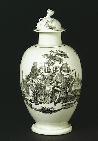 Tea canister, about 1768, Worcester porcelain factory V&A Museum no.  1448&A-1853.