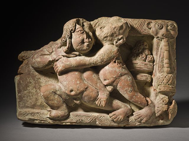 Indian sculpture of wrestlers, possibly malla-yuddha (c. 5th century AD) - Malla-Yhudda
