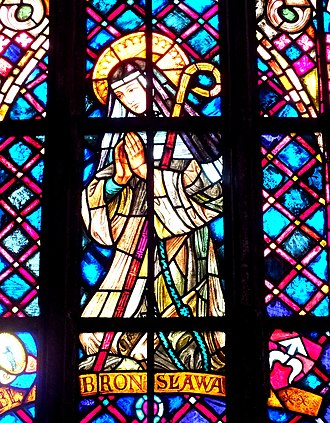 Bronislava of Poland - Stained glass blessed Bronislava in cathedral of St. John the Baptist in Wrocław