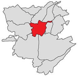 Het Kentron-district (in rood)