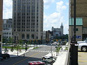 Downtown's Central Square (Federal Plaza) from the east.