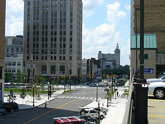 Downtown Youngstown - Downtown's Central Square (Federal Plaza) from the east.