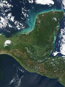 Satelita bildo de la duoninsulo Jukatano