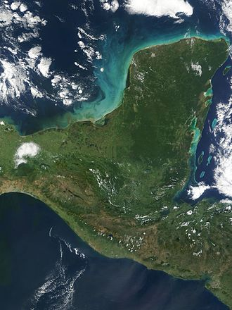 Yucatán Peninsula - Satellite image of the Yucatán Peninsula