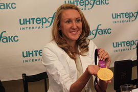Yuliya Zaripova at the press conferences at Interfax.JPG