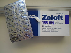 English: A package of branded Zoloft 100 mg (s...