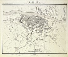 Map (1868) of the Second Siege of Zaragoza Zaragoza - Segundo Sitio.jpg