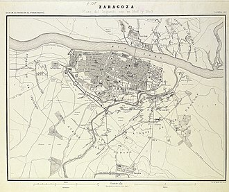 Second Siege of Zaragoza - Map (1868) of the Second Siege of Zaragoza