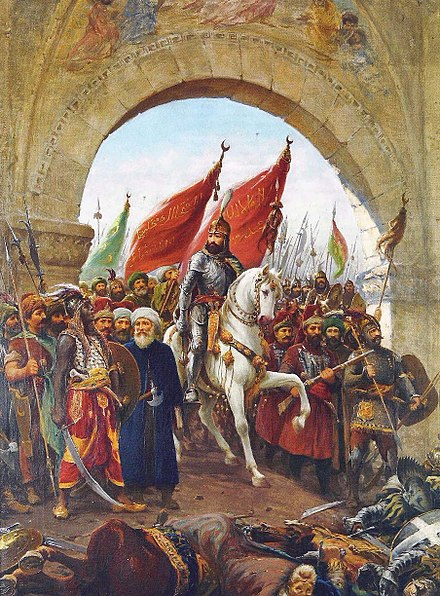 Mehmed the Conqueror enters Constantinople, painting by Fausto Zonaro. Zonaro GatesofConst.jpg