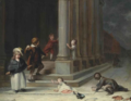 'Children Playing in the Snow in front of St. George's Church, Hanover Square' by Richard Morton Paye.webp