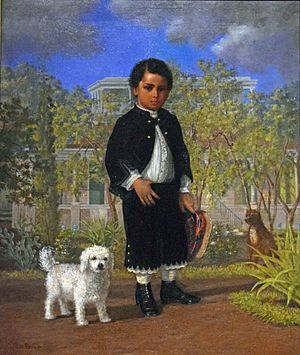 Albert Kamehameha - Painting by Enoch Wood Perry, Jr. of the Prince with his dog outside the royal palace.