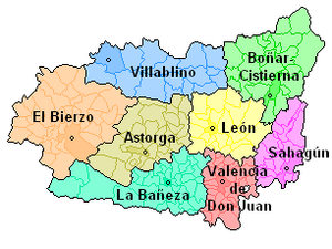 Province of León - Map of Comarcas de León.