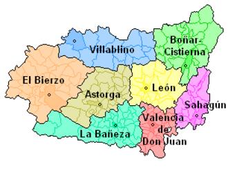 Province of León - Map of Comarcas de León.