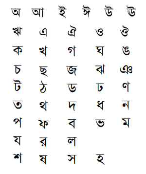 Bengali alphabet - Image: Бенгал алфавит