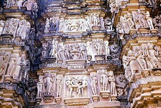 Erotic sculptures at the main Hindu temples of Khajuraho Group of Monuments Indiia2.jpg