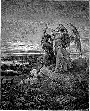 Jacob wrestling with the angel - Gustave Doré, Jacob Wrestling with the Angel (1855)