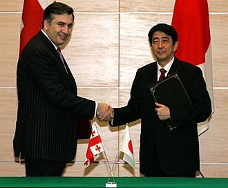 Georgia–Japan relations - Georgian President Mikheil Saakashvili (left) and Japanese PM Shinzō Abe at the PM's Official Residence in Tokyo on March 8, 2007.