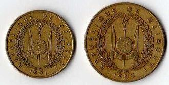 Djiboutian franc - 10 and 20 Djiboutian francs, reverse (ca. 1991 and 1983).